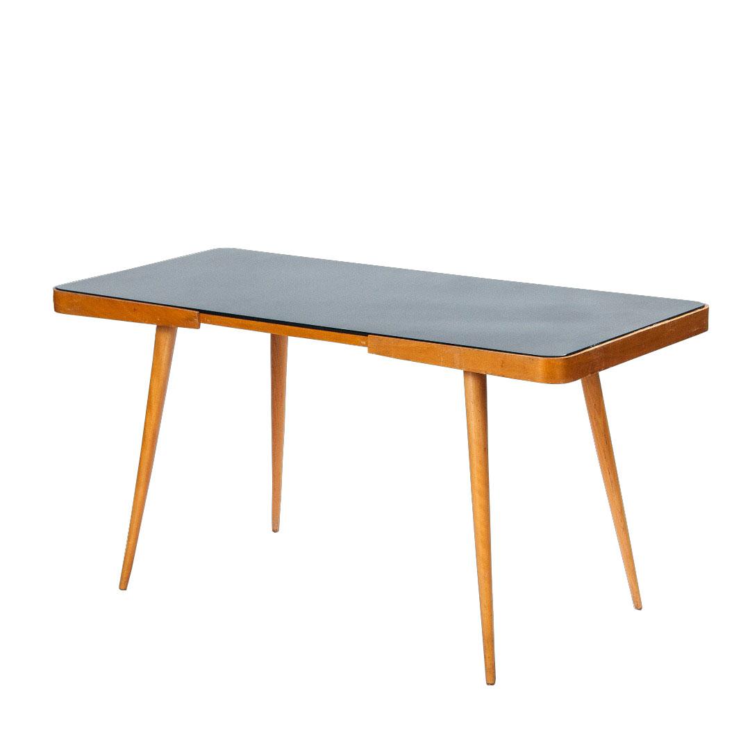 Slavia vintage mobilier vintage table pieds compas en - Table en verre noir ...