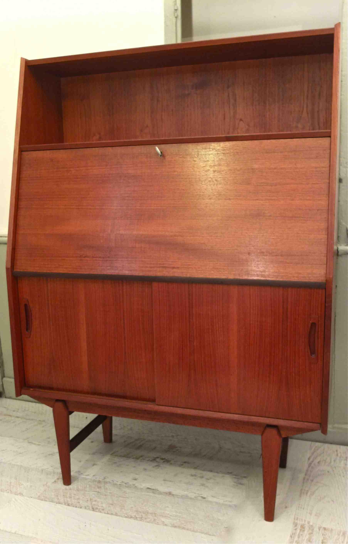 slavia vintage - mobilier vintage - secrétaire en teck de style