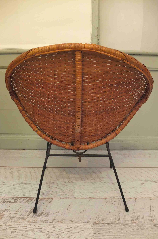 slavia vintage mobilier vintage fauteuil en osier des ann es 50 de style janine abraham. Black Bedroom Furniture Sets. Home Design Ideas