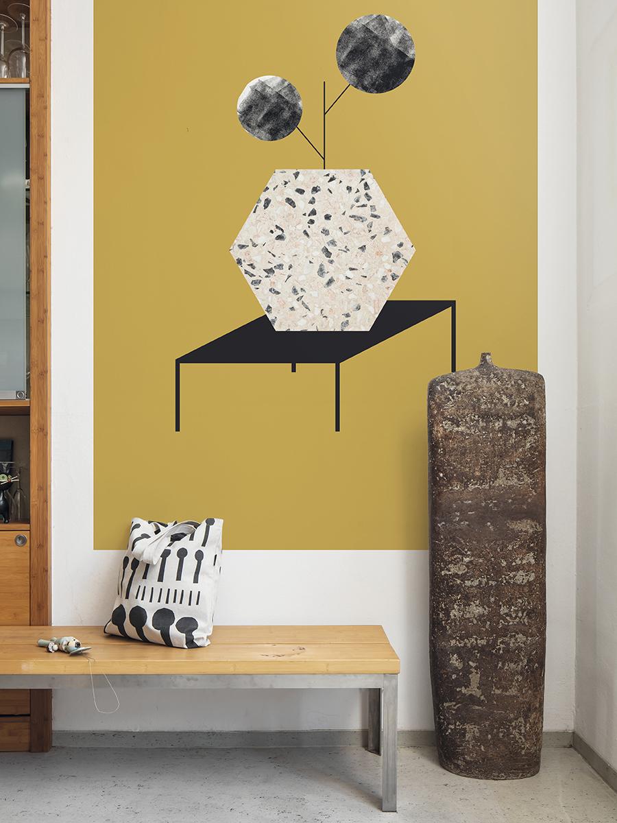 slavia vintage design contemporain lavmi design tch que mural terrazzo ocre. Black Bedroom Furniture Sets. Home Design Ideas