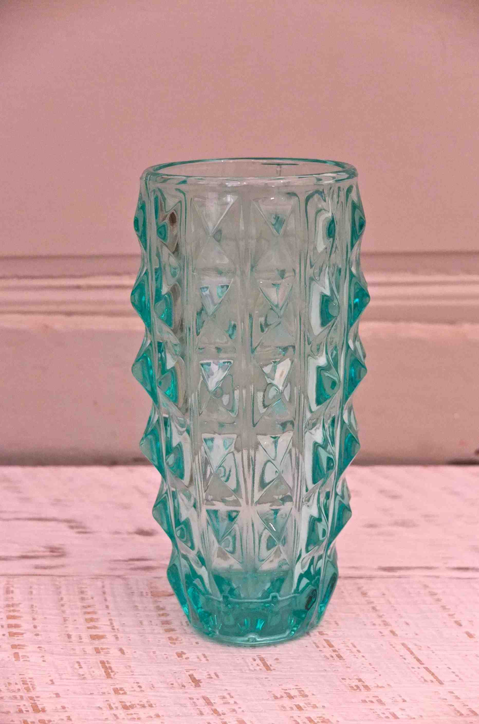 slavia vintage mobilier vintage vase en verre de style bruxelles turquoise. Black Bedroom Furniture Sets. Home Design Ideas