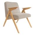 fauteuil bunny - 366 concept - tweed beige teinte chêne - design polonais