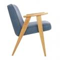 fauteuil 366  Jozef Chierowski - 366 Concept - loft - chiné bleu marine teinte chêne - design polonais