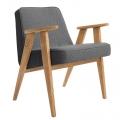 """fauteuil """"366"""" Jozef Chierowski - 366 Concept  - tweed noir teinte chêne - design polonais"""