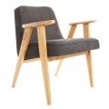 """fauteuil """"366"""" - Jozef Chierowski - 366 concept - loft - chiné gris - teinte chêne - design polonais"""