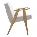 """fauteuil """"366"""" Jozef Chierowski - 366 Concept - tweed beige teinte chêne - design polonais"""