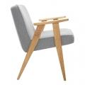 fauteuil 366 Jozef Chierowski - 366 Concept - tweed gris teinte chêne - design polonais