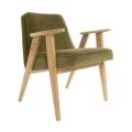 """fauteuil 366 - Jozef Chierowski - 366 Concept - """"velvet""""   velours kaki  piètement teinte chêne - design polonais"""