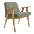 fauteuil 366 - Jozef Chierowski - 366 concept -  tweed aquagreen - piètement  teinte chêne - design polonais