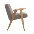 """fauteuil """"366"""" Jozef Chierowski - 366 concept - loft - chiné gris - teinte chêne foncé - design polonais"""