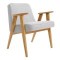 fauteuil 366 - jozef chierowski - 366 Concept - tweed  white - teinte chêne - design polonais