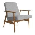 fauteuil fox - H.Lis - 366 concept - loft chiné gris  - teinte chêne foncé -  design polonais