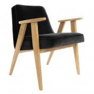 """fauteuil """"366"""" Jozef chierowski - 366 concept - """"velvet""""  velours noir - teinte chêne - design polonais"""