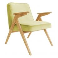 fauteuil bunny - 366 concept - velvet - velours limonade teinte chêne - design polonais