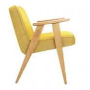 fauteuil 366 - Jozef Chierowski - 366 Concept  - loft - chiné moutarde teinte chêne - design polonais