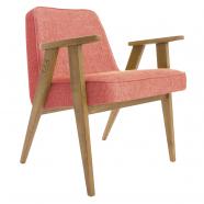 fauteuil 366  - Jozef Chierowski - 366 Concept - loft - framboise teinte chêne foncé - design polonais