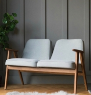 Banquette 366 deux places - 366 Concept - Tweed mentos - piètement teinte chêne - design polonais