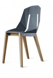 """tabanda - chaise """"Diago""""  bleu gris - RAL 7031 - design polonais"""