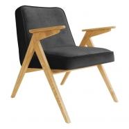 fauteuil bunny - 366 concept - velvet - velours noir teinte chêne - design polonais