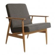 fauteuil fox - H.Lis - 366 concept  - tweed noir - teinte chêne foncé - design polonais