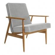 fauteuil fox - H.Lis- 366 concept -  velours gris - teinte chêne foncé - design polonais