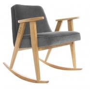 """rocking chair """"366"""" - Jozef Chierowski- 366 concept -  """"Velvet"""" velours gris graphite teinte chêne - design polonais"""