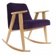 "rocking chair ""366"" - Jozef Chierowski- 366 concept -  ""Velvet"" velours pourpre teinte chêne - design polonais"