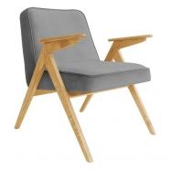 fauteuil bunny - 366 concept - velvet - velours graphite teinte chêne - design polonais