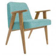 """fauteuil """"366"""" Jozef chierowski - 366 concept - loft turquoise - teinte chêne foncé - design polonais"""