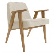 fauteuil 366 - Jozef Chierowski - 366 Concept  - loft - chiné white teinte chêne foncé - design polonais