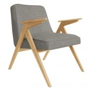 fauteuil bunny - 366 concept - loft gris chiné teinte chêne - design polonais
