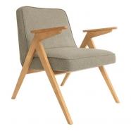 fauteuil bunny - 366 concept - tweed stone teinte chêne - design polonais