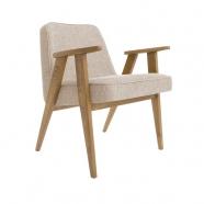 fauteuil 366 - Jozef Chierowski - 366 Concept  - loft - chiné sable teinte chêne foncé - design polonais