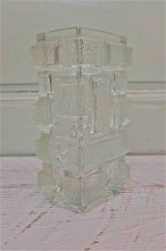 """Vase en verre tchèque des années 60 """"Kubista"""""""