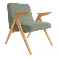 fauteuil bunny - 366 concept - tweed aqua green teinte chêne - design polonais