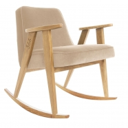 "rocking chair ""366"" - Jozef Chierowski- 366 concept -  ""Velvet"" velours sable teinte chêne - design polonais"