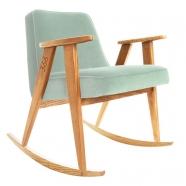"""rocking chair """"366"""" - Jozef Chierowski- 366 concept -  """"Velvet"""" velours menthe teinte chêne - design polonais"""