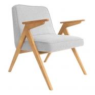 fauteuil bunny - 366 concept - tweed white teinte chêne - design polonais