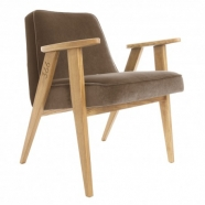 """fauteuil """"366"""" Jozef Chierowski - 366 concept - """"velvet""""  velours  taupe - teinte chêne - design polonais"""