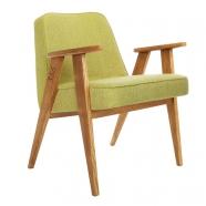fauteuil 366 Jozef Chierowski - 366 Concept  - tweed  lemon  teinte chêne foncé - design polonais