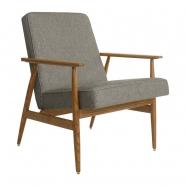 fauteuil fox - H.Lis - 366 concept - loft chiné gris  foncé - teinte chêne foncé - design polonais