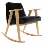 """rocking chair """"366"""" - Jozef Chierowski- 366 concept -  """"Velvet"""" velours noir teinte chêne - design polonais"""