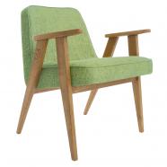 fauteuil 366  Jozef Chierowski - 366 Concept - loft - vert olive teinte chêne foncé- design polonais
