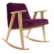"""rocking chair """"366"""" - Jozef Chierowski- 366 concept -  """"Velvet"""" velours  aubergine teinte chêne foncé - design polonais"""