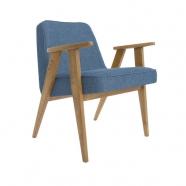 fauteuil 366 - Jozef Chierowski - 366 Concept  - loft - chiné bleu marine teinte chêne foncé - design polonais