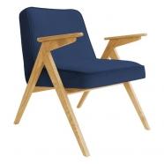 fauteuil bunny - 366 concept - velvet - velours indigo teinte chêne - design polonais