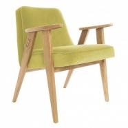 """fauteuil 366 Jozef Chierowski - 366 concept - """"velvet""""  velours  lemonade - teinte chêne - design polonais"""