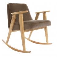"rocking chair ""366"" - Jozef Chierowski- 366 concept -  ""Velvet"" velours  taupe teinte chêne - design polonais"