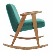 """rocking chair """"366"""" - Jozef Chierowski- 366 concept - Velvet - vert turquoise teinte chêne foncé - design polonais"""