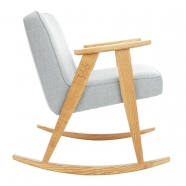"rocking chair ""366"" - Jozef Chierowski- 366 concept - tweed white teinte chêne - design polonais"